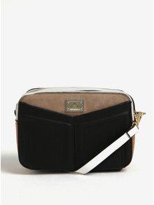 Hnědo-černá crossbody kabelka se zipem ve zlaté barvě Bessie London