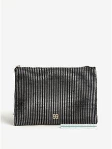 Bielo-čierna vzorovaná listová kabelka so strapcom Bessie London