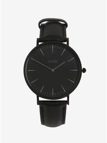 Ceas negru cu doua curele detasabile din piele naturala pentru femei - CLUSE