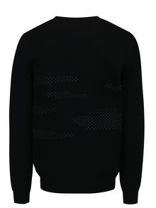 Pulover negru din lana merino cu model geometric- Live Sweaters Error On The Moon