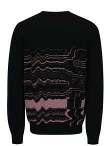 Pulover negru din lana merino cu model abstract - Live Sweaters Ayahuasca