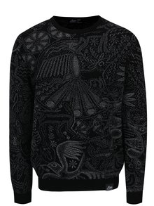 Pulover negru din lana merino cu model abstract - Live Sweaters Hikuri