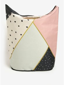 Krémovo-růžový vzorovaný koš na prádlo Butter Kings