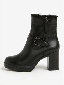 Černé dámské kožené zimní kotníkové boty na podpatku Geox Abrienne