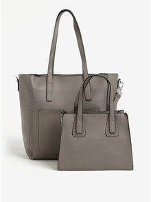 Geanta shopper gri cu aspect 2in1 si perforatii Bessie London