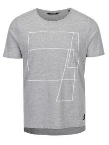 Sivé melírované tričko s potlačou ONLY & SONS Morgan