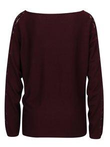 Vínový tenký sveter s čipkou Haily's Katja