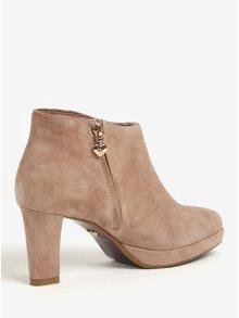 Starorůžové semišové kotníkové boty na podpatku Tamaris