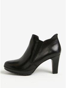 Čierne kožené členkové topánky s gumovými vsadkami na podpätku Tamaris