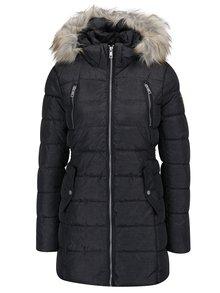 Tmavosivá prešívaná bunda s umelou kožušinou Haily´s Anette