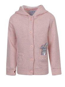 Světle růžová holčičí žíhaná mikina s kapucí 5.10.15.