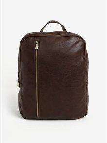 Tmavohnedý batoh so zipsami v zlatej farbe Bobby Black