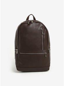 Tmavohnedý batoh so zipsami v striebornej farbe Bobby Black