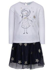 Modro-biela dievčenská súprava sukne a trička s potlačou 5.10.15.