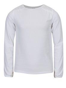Biele dievčenské tričko s čipkou na ramenách 5.10.15.