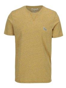 Žluté žíhané tričko s nášivkou Jack & Jones Blah TEE