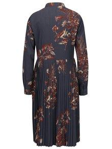 Sivé kvetované košeľové šaty s plisovanou sukňou VILA Pima