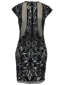 Černé šaty s flitry, korálky a průsvitnými detaily Miss Selfridge