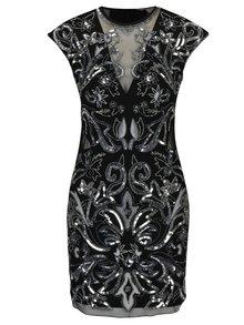 Čierne šaty s flitrami, korálikmi a priesvitnými detailmi Miss Selfridge