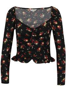 Bluza crop cu print floral si volan scurt  Miss Selfridge