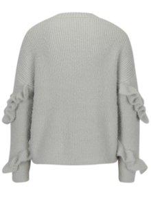 Sivý sveter s volánmi na rukávoch Miss Selfridge