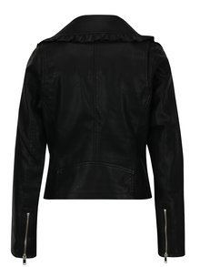 Čierna koženková bunda s volánmi Miss Selfridge