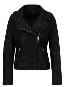 Jacheta neagra biker cu volane din piele sintetica Miss Selfridge