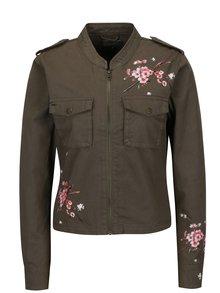 Khaki bunda s potiskem květin ONLY Anwar