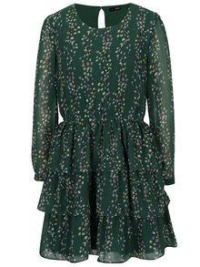 Rochie verde cu volane si print floral - ONLY Ditte