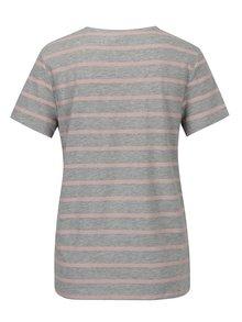 Růžovo-šedé pruhované tričko s výšivkou mašle ONLY Kita