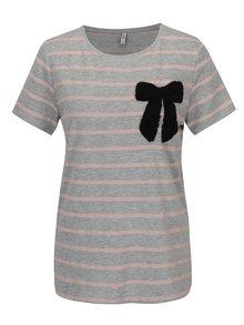 Ružovo-sivé pruhované tričko s výšivkou mašle ONLY Kita