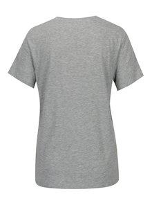 Sivé melírované tričko s potlačou a vyšívaním ONLY Kita