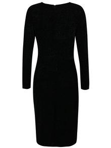 Rochie neagra cu aspect stralucitor si guler drapat Dorothy Perkins