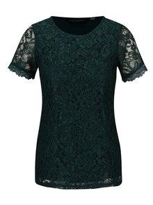 Tmavě zelené krajkové tričko s krátkým rukávem Dorothy Perkins