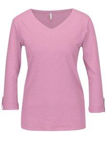 Růžové tričko s 3/4 rukávem ONLY Bone