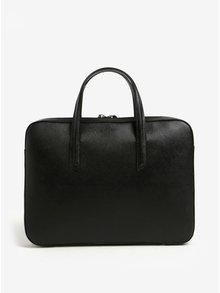 Čierna dámska kožená taška na notebook ELEGA Lester