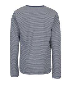 Krémovo-modré dievčenské pruhované tričko s dlhým rukávom name it Villy