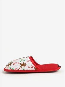 Červeno-bílé unisex papuče s vánočním motivem Slippsy