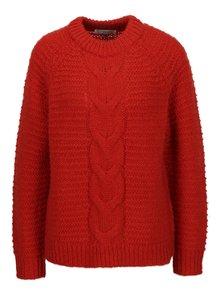 Pulover rosu tricotat cu torsade - Selected Femme Ayda