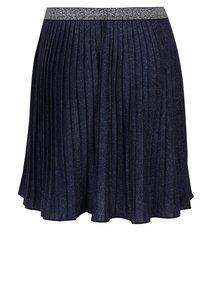 Tmavě modrá holčičí třpytivá plisovaná sukně s mašlí 5.10.15.