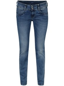 Modré straight dámské džíny s nízkým pasem Pepe Jeans Gen