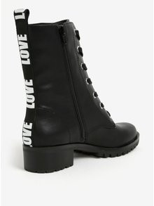 Čierne členkové dámske topánky s potlačou na päte ALDO Trulle