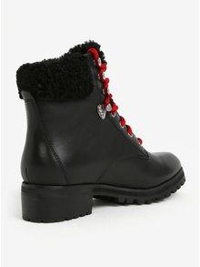 Čierne dámske kožené členkové topánky s umelým kožúškom ALDO Uleladda