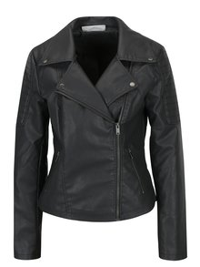 Jacheta biker neagra cu model in relief pe umeri Noisy May Rebel