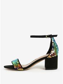 Čierne sandálky na podpätku s flitrami ALDO Victoria