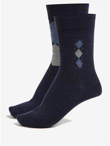 Súprava dvoch párov pánskych ponožiek v tmavomodrej farbe JELL
