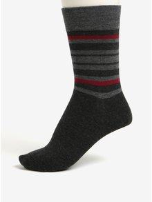 Súprava dvoch párov pánskych pruhovaných ponožiek v tmavosivej farbe JELL