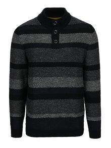 Sivo-modrý pánsky pruhovaný sveter so stojačikom s.Oliver