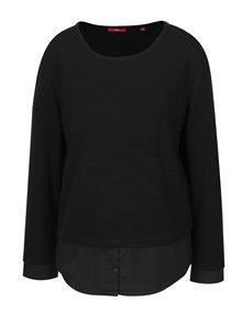 Bluza neagra cu dungi si aspect 2 in 1 pentru femei - s.Oliver