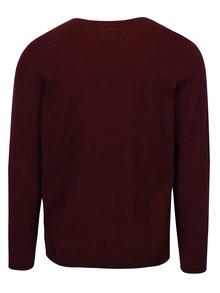 Vínový pánský svetr s véčkovým výstřihem a knoflíky s.Oliver